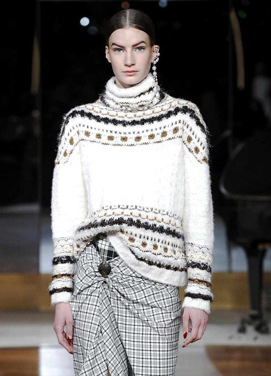 модный свитер винтажный в винтажном стиле осень зима 2020 2021 белый с рисунком
