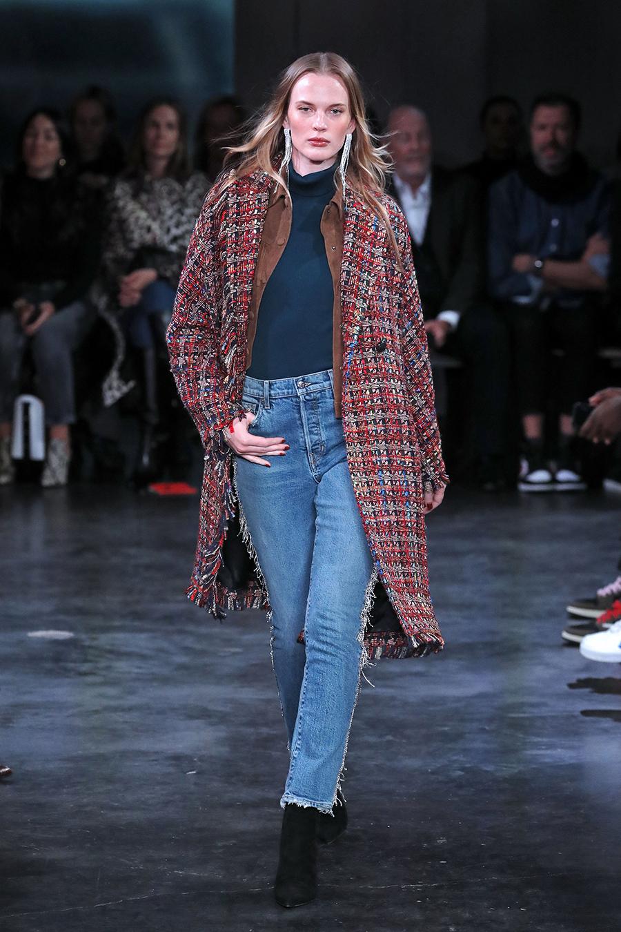 джинсы зима 2020 2021 модные бахрома необработанный край синие голуые узкие