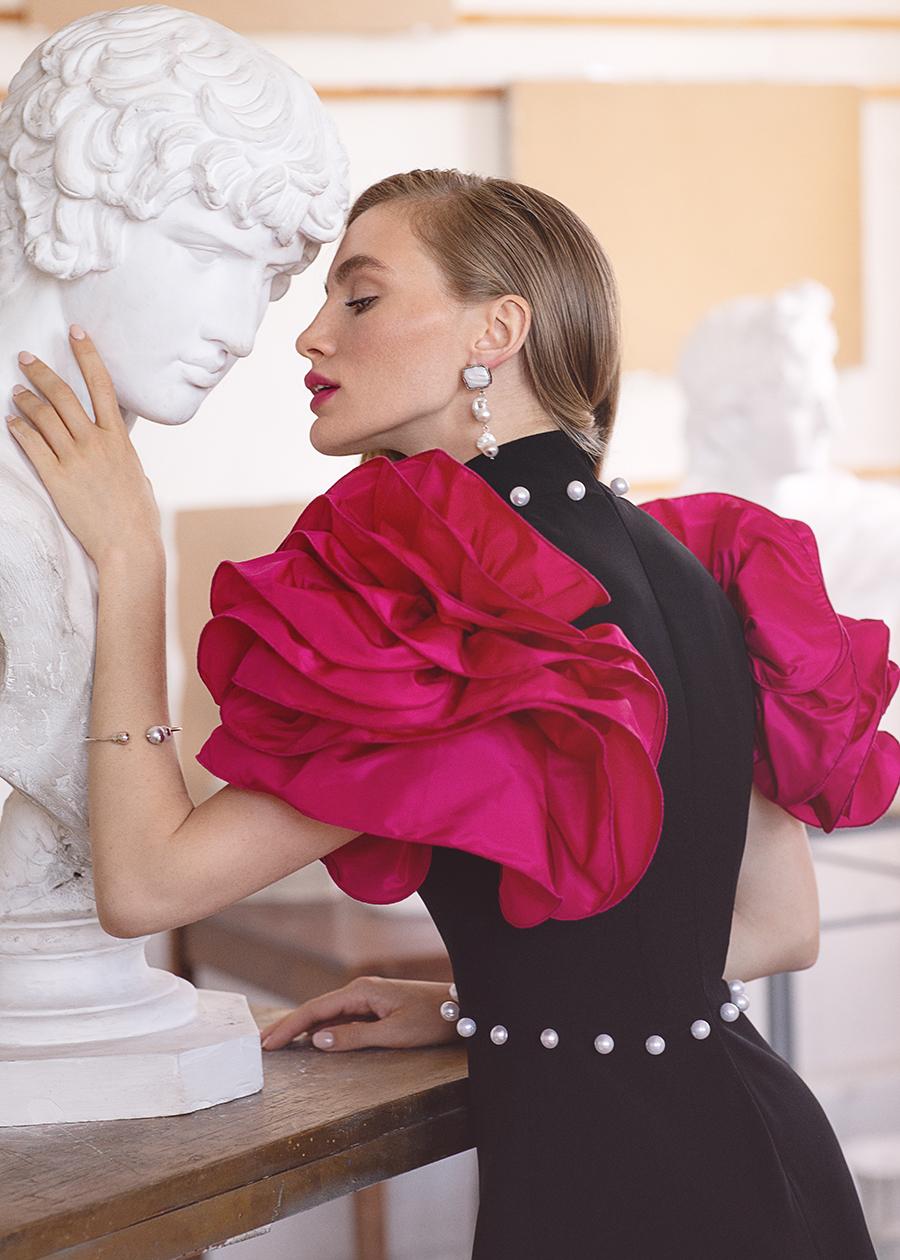 платье пышные рукава короткое черное розовое что надеть на новый год 2021