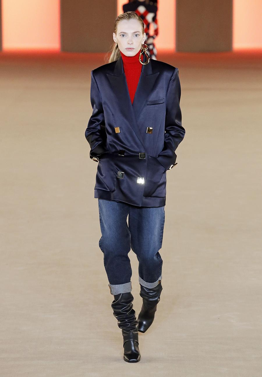 джинсы зима 2020 2021 модные с широким подкатом подворот манжета синие короткие