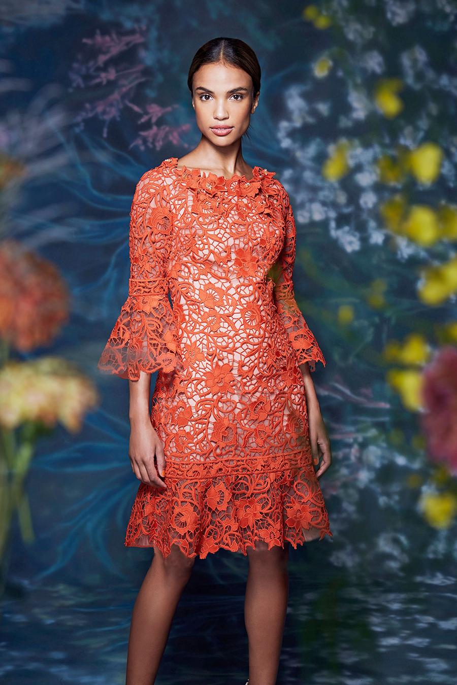 что надеть деньвлюбленных валентина платье кружево ажурное оранжевое короткое