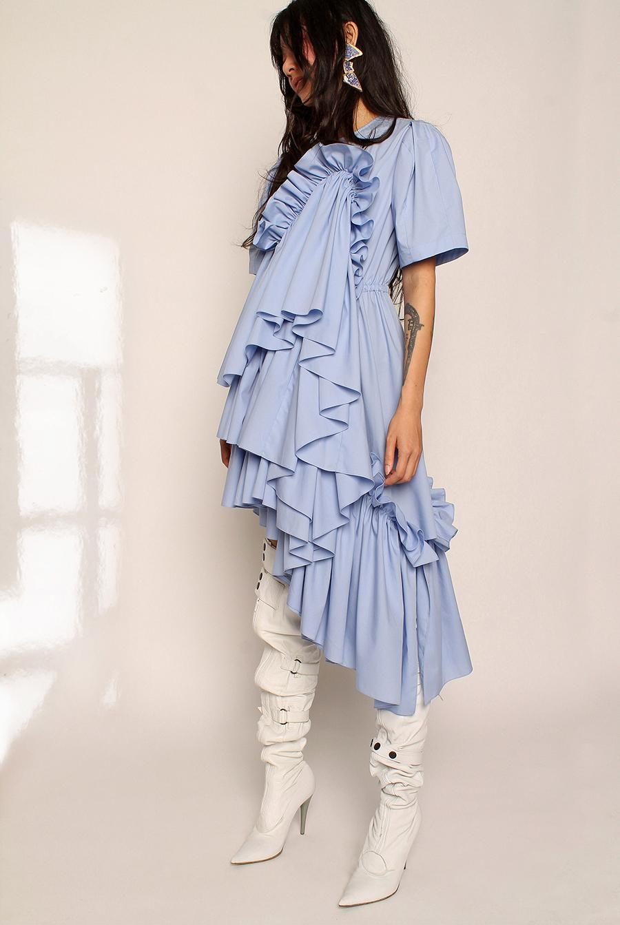 что надеть день влюбленных валентина платье оборки миди голубое лиловое лавандовое
