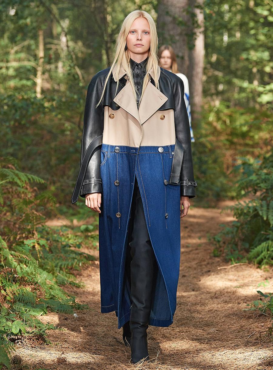 модный тренч весна 2021 длинный макси пэчворк бежевый черный синий