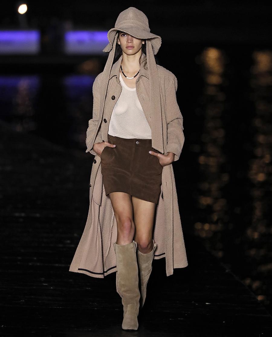 модный тренч весна 2021 длинный макси вельветовый бежевый