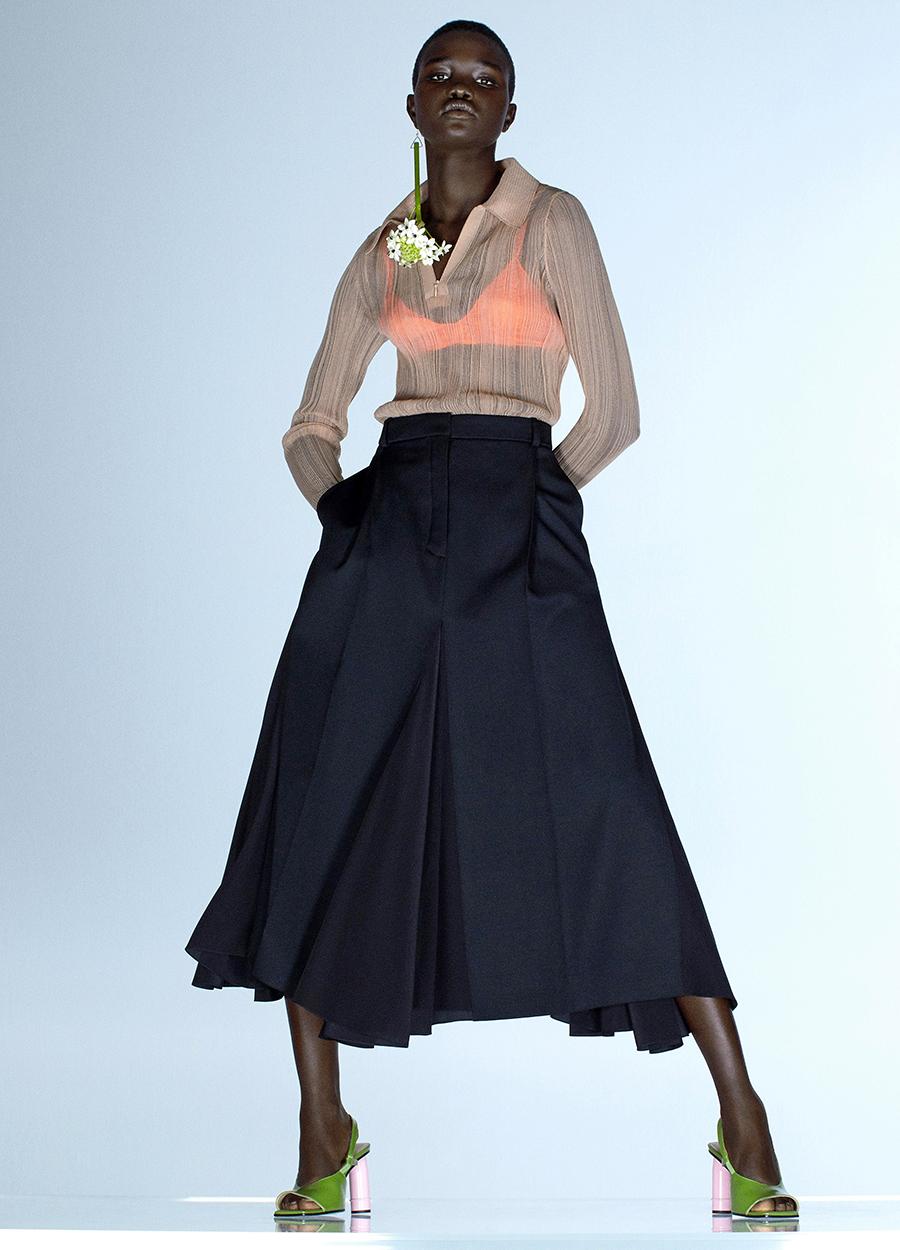 модная блуза блузка рубашка трикотажная поло бежевая прозрачная в рубчик серая