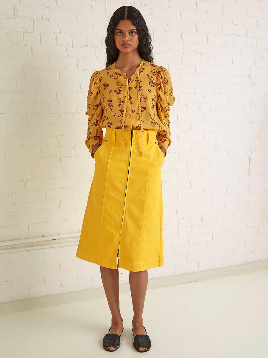 модная блуза блузка рубашка оборки принты 70-х желтая цветы
