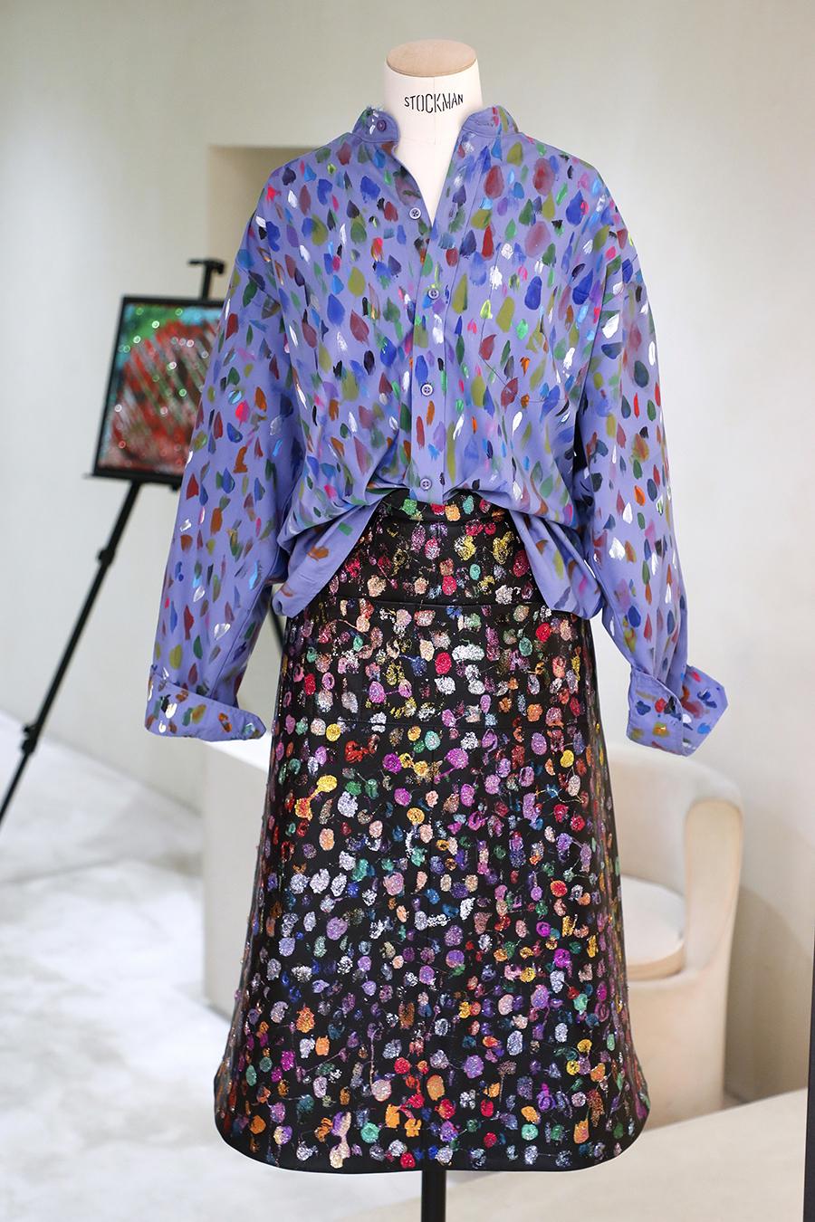 модная блуза блузка рубашка оборки принты 70-х голубая пятна