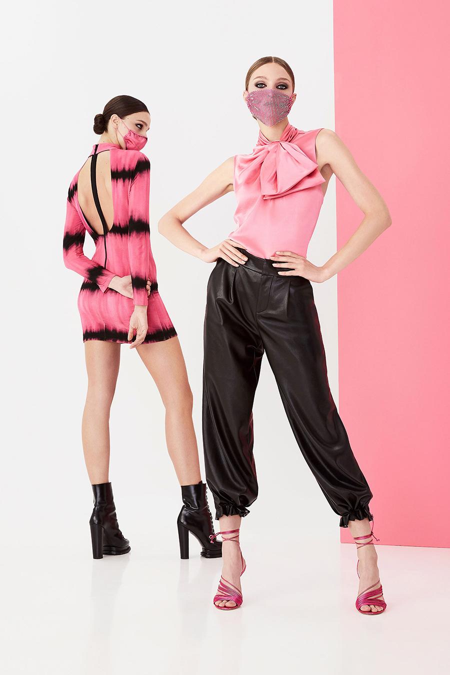 модная блуза блузка рубашка с бантом розовая