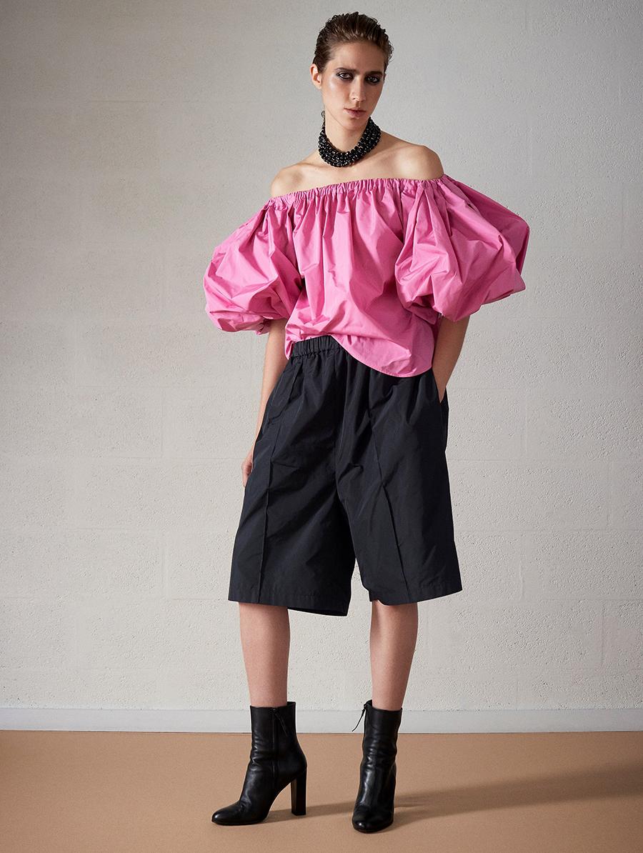модная блуза блузка рубашка с пышными объемными рукавами розовая