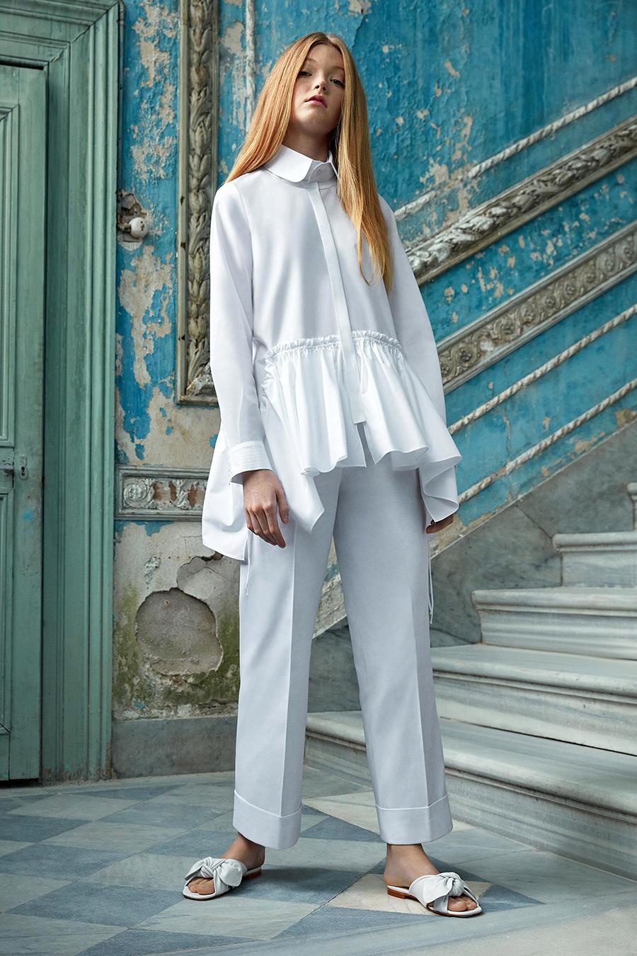 модная блуза блузка рубашка оборки белая длинная