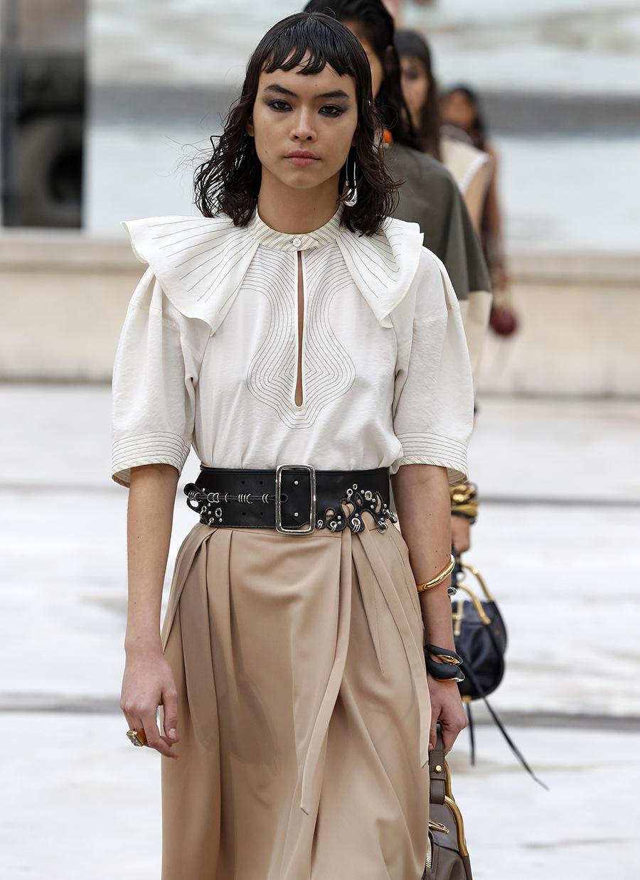 модная блуза блузка рубашка круглый большой воротник белая