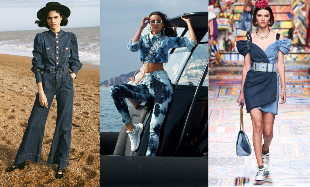 модные джинсовые куртки, платья и комбинезоны