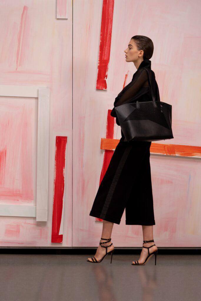 модная объемная большая черная сумка овесайз тоут шоппер