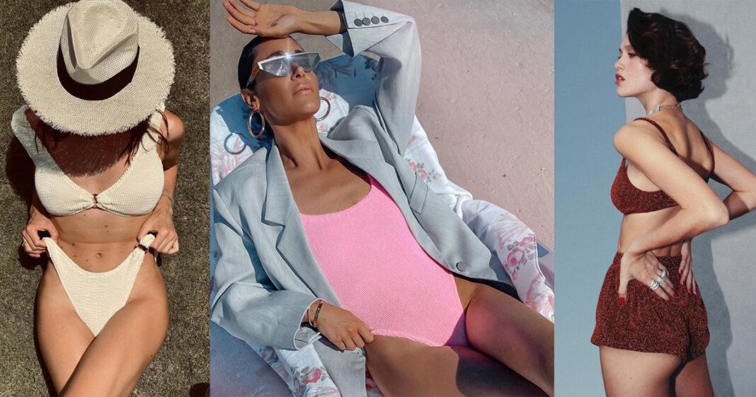 купальник модный сдельный раздельный лето 2021 неоновый жатый бикини