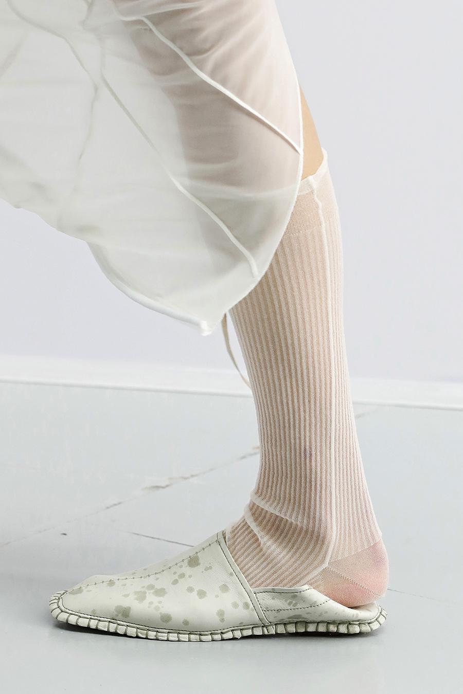 модная обувь лето 2021 на низком ходу плоская подошва без каблука женская мюли бабуши шлепанцы зыкрытые белые