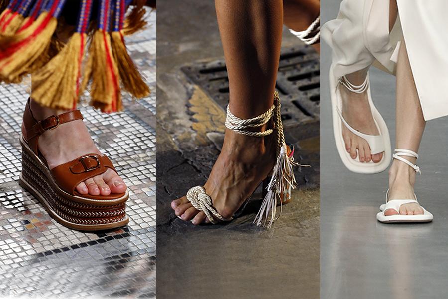 босоножки модные лето 2021 вьетнамки плетеные на платформе на каблуке на плоском ходу