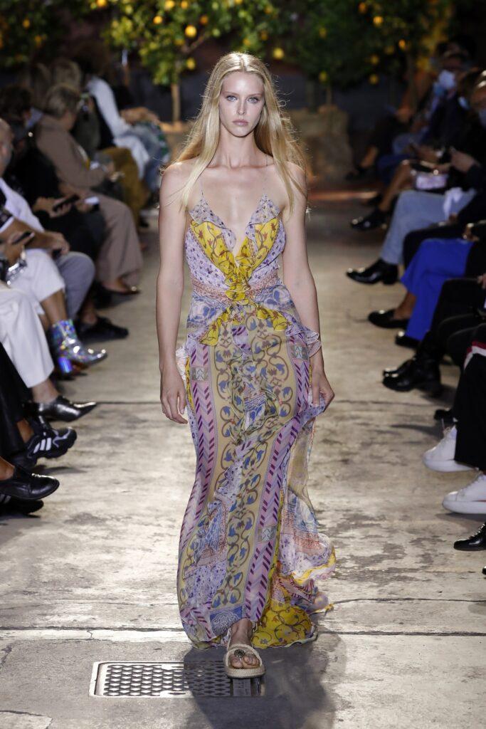 прозрачное платье с принтом