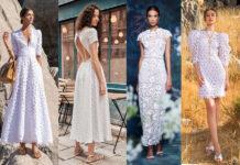 белое кружевное платье мода лето 2021