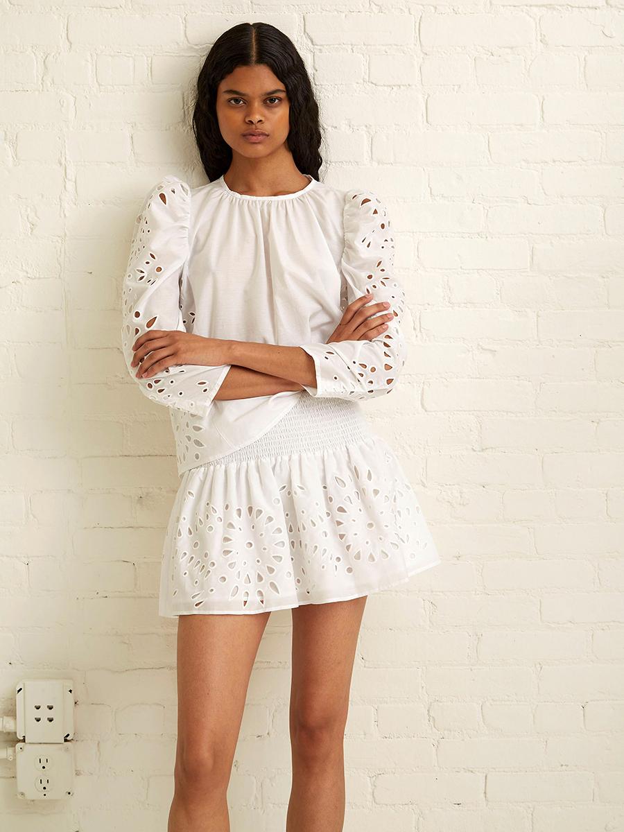 мини-платье модное лето 2021 короткое белое кружевное