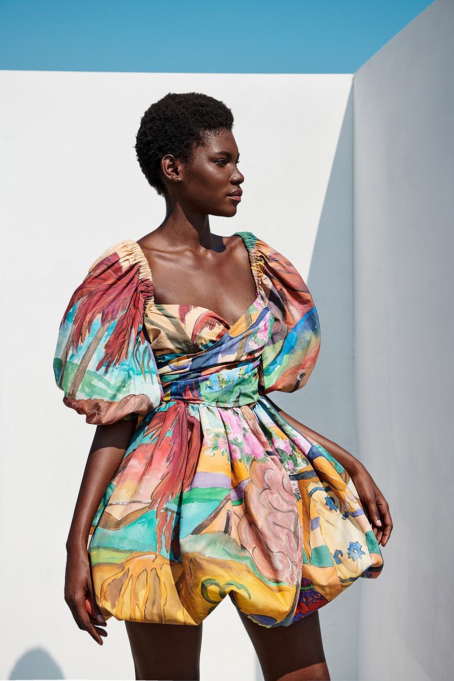 мини-платье модное лето 2021 короткое пышная юбка яркое тай дай принты