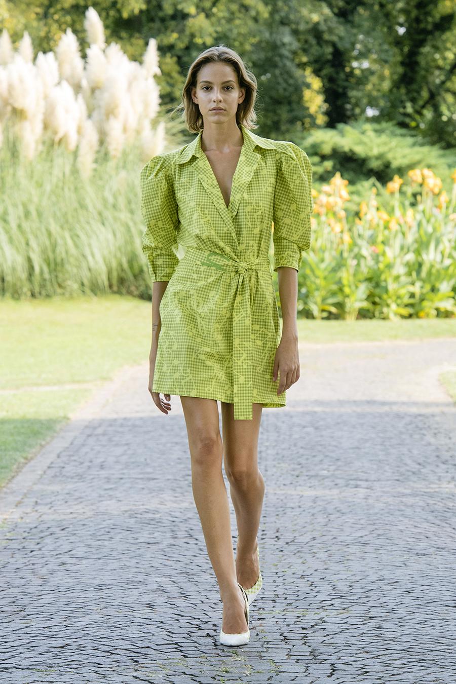 мини-платье модное лето 2021 короткое платье рубашка зеленое
