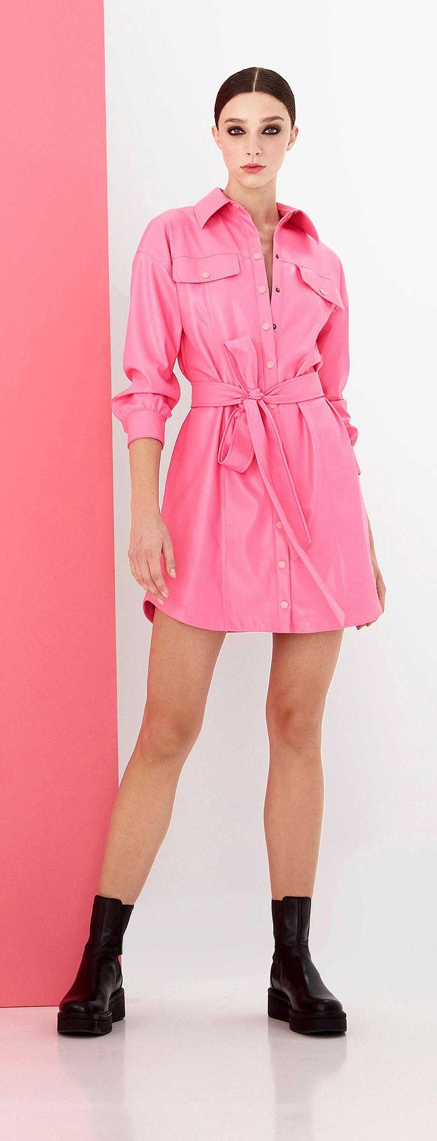 мини-платье модное лето 2021 короткое платье рубашка розовое