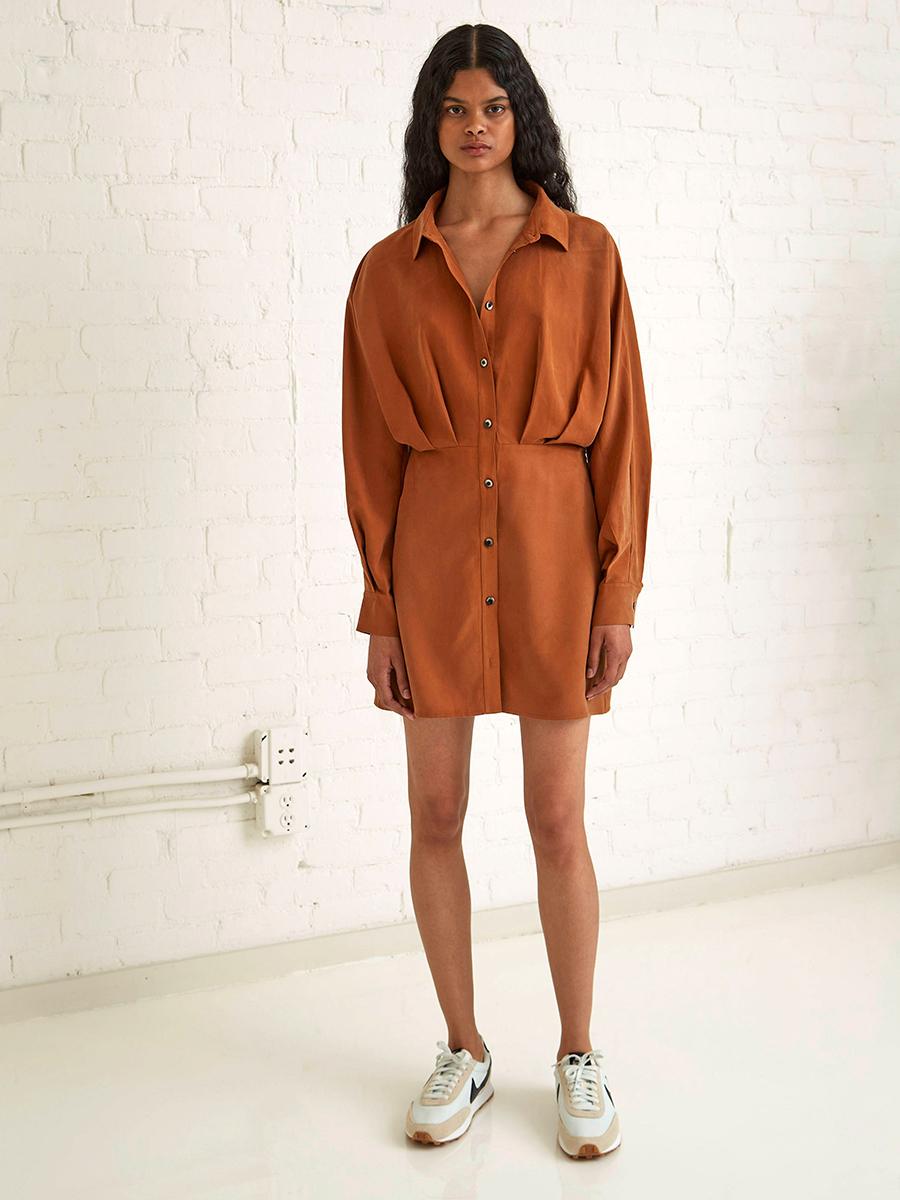 мини-платье модное лето 2021 короткое платье рубашка коричневое