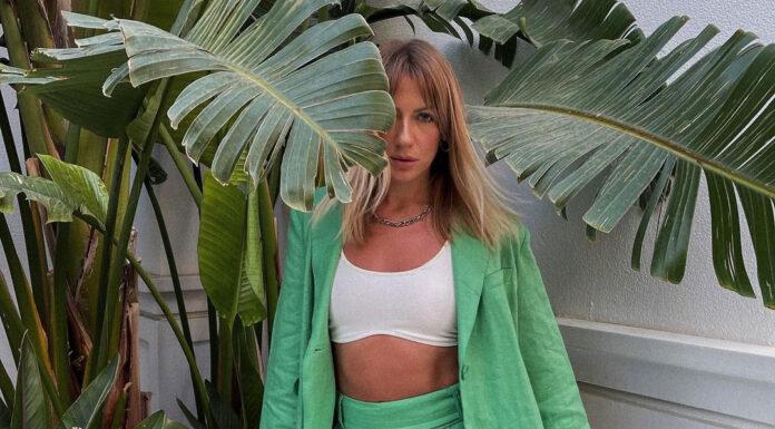 леся никитюк костюм женский лен зеленый жакет шорты лето 2021