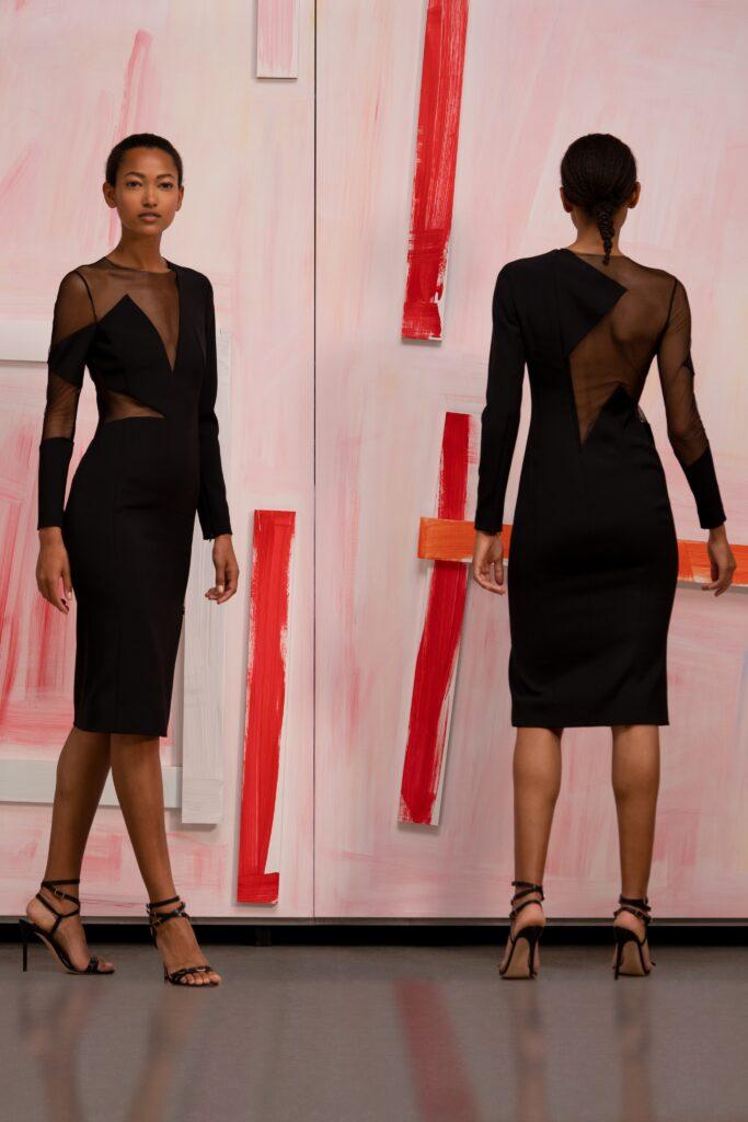 маленькое черное платье короткое мини узкое с прозрачными вставками с длинным рукавом