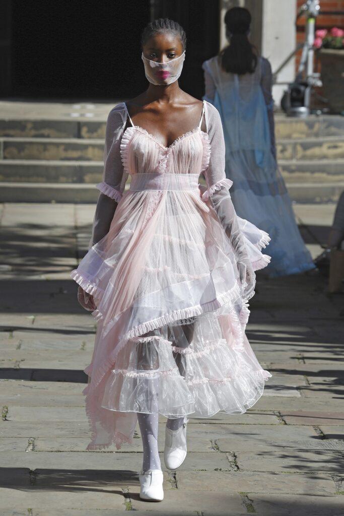 модное платье кукольное беби долл baby doll короткое пышное лето 2021 прозрачное миди розовоепышное