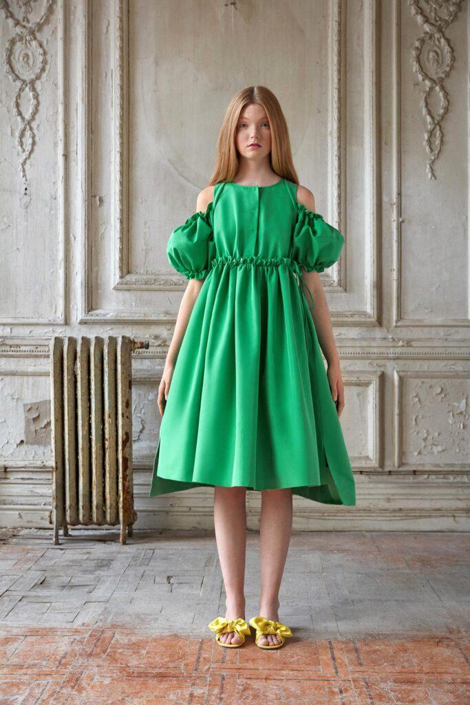 модное платье кукольное беби долл baby doll короткое пышное лето 2021 зеленое