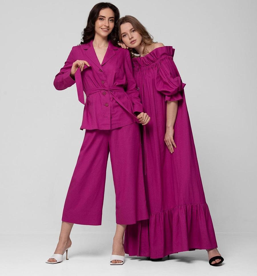 модный костюм лен льняной шорты жакет пиджак рубашка розовый фиолетовый приталенный