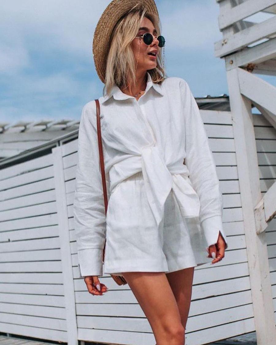 модный костюм лен льняной шорты жакет пиджак рубашка белый
