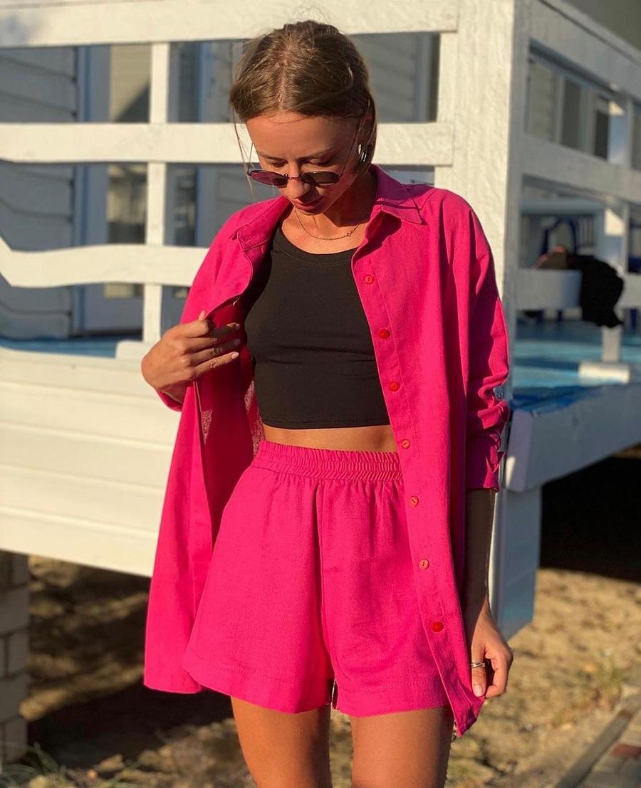 модный костюм лен льняной шорты жакет пиджак рубашка розовый фуксия