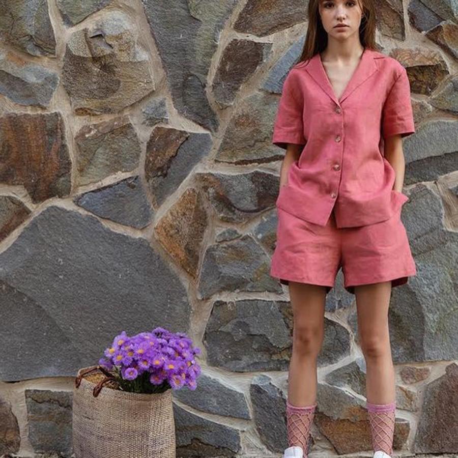модный костюм лен льняной шорты жакет пиджак рубашка розовый пыльная роза