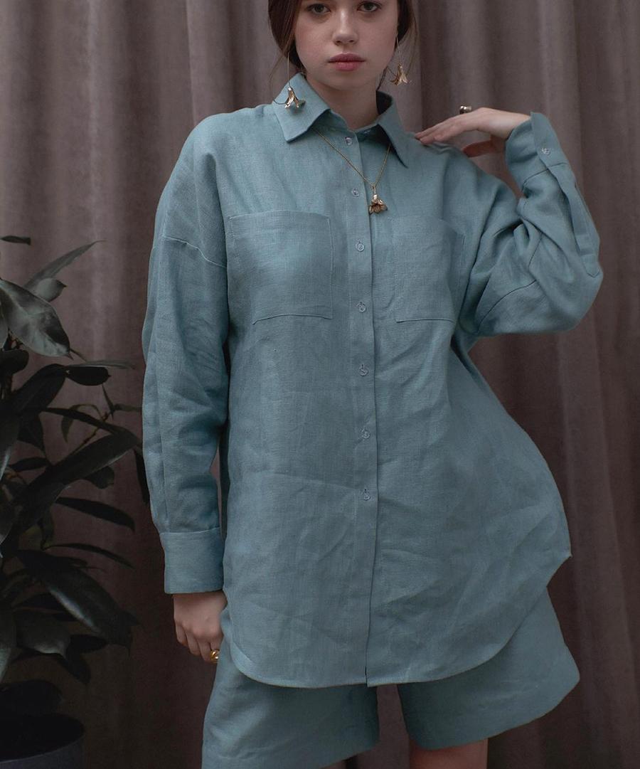 модный костюм лен льняной шорты жакет пиджак рубашка голубой синий морской волны оверсайз