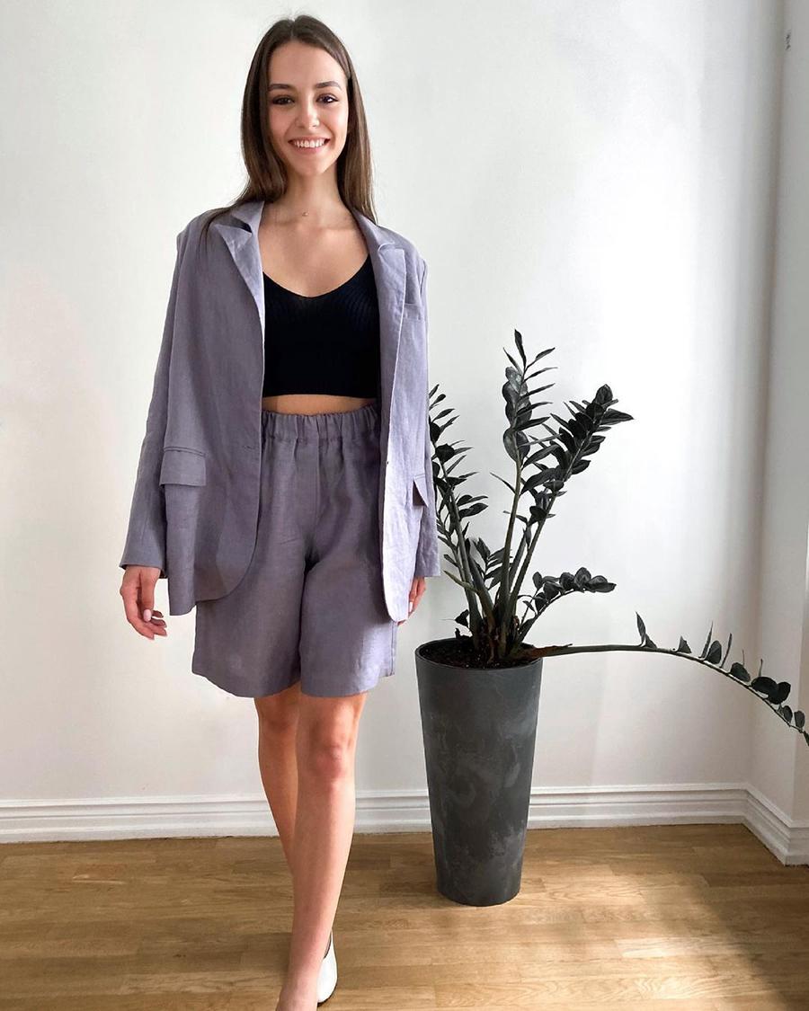 модный костюм лен льняной шорты жакет пиджак рубашка фиолетовый лиловый лавандовый