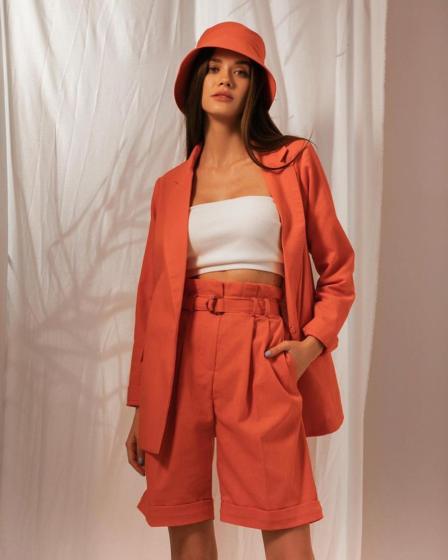 модный костюм лен льняной шорты жакет пиджак рубашка оранжевый коралловый
