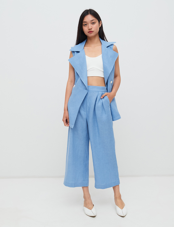 модный костюм лен льняной шорты жакет пиджак рубашка жилет бермуды голубой