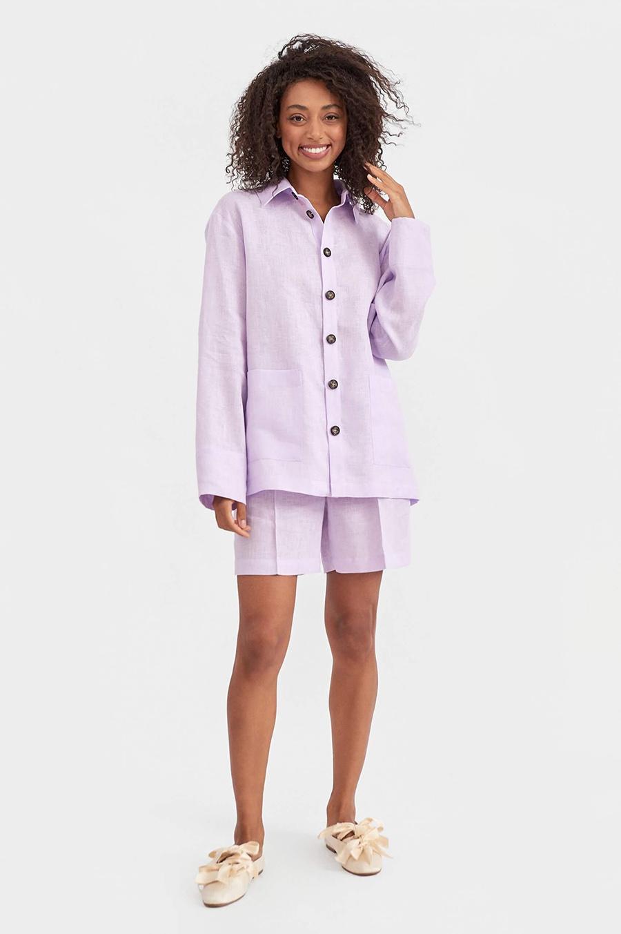 модный костюм лен льняной шорты жакет пиджак рубашка лиловый лавандовый