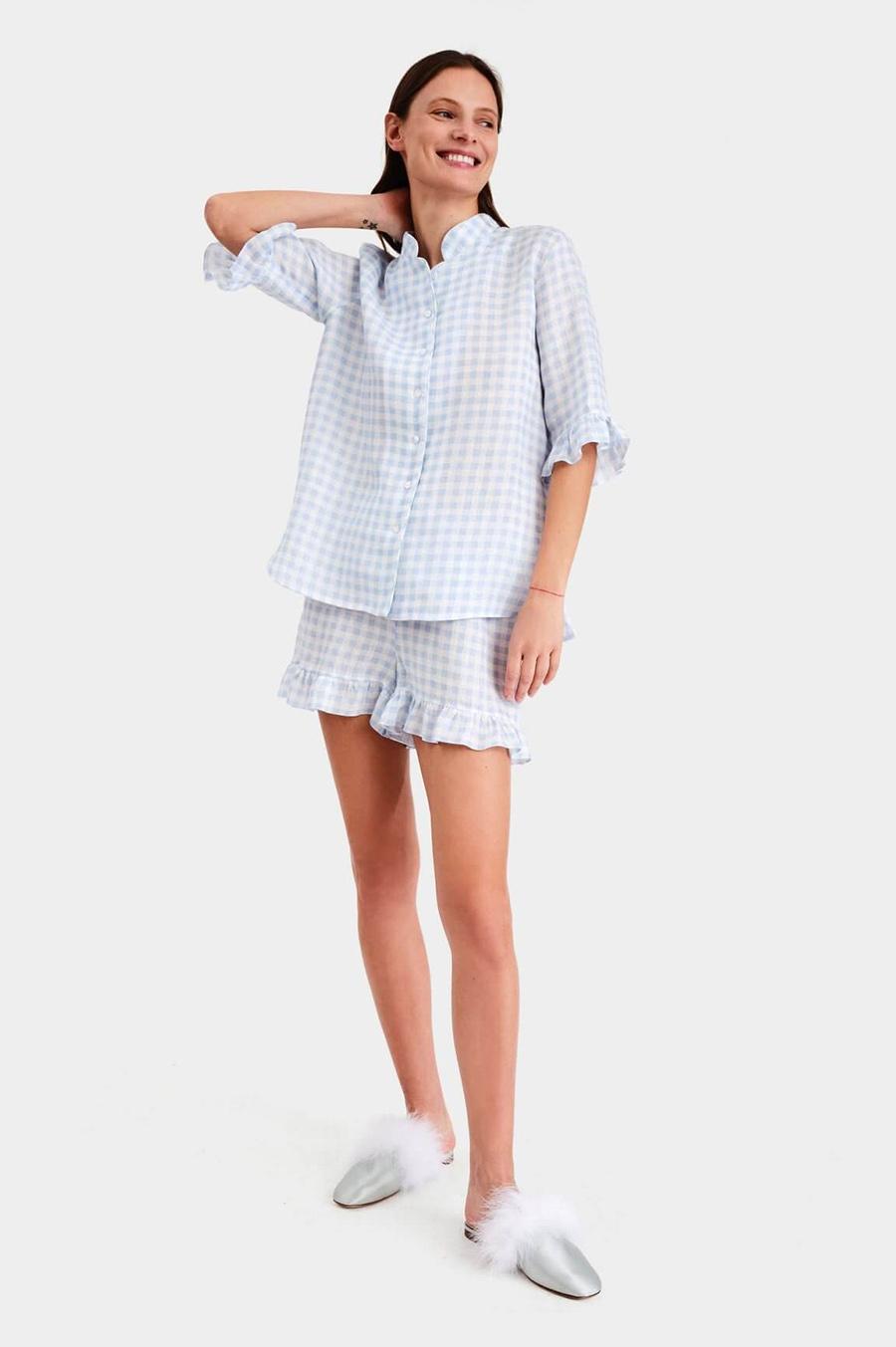 модный костюм лен льняной шорты жакет пиджак рубашка белый голубой клетка
