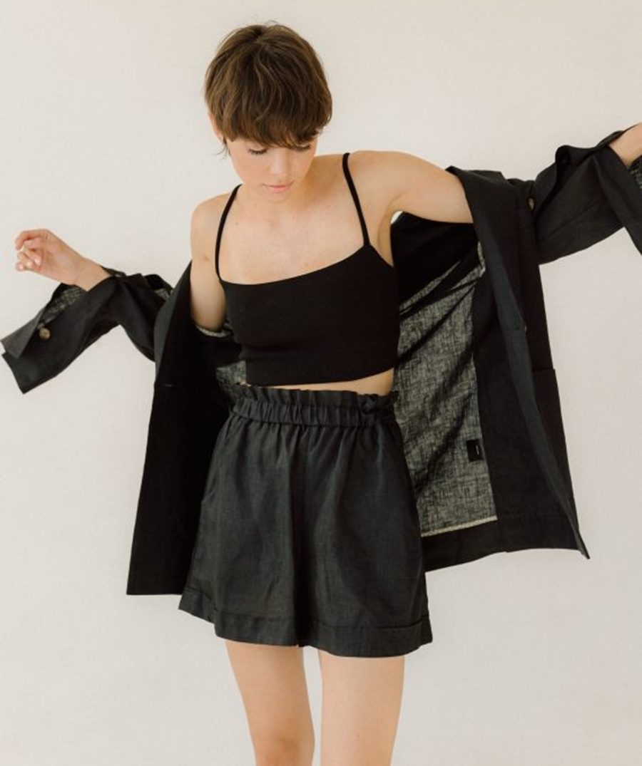 модный костюм лен льняной шорты жакет пиджак рубашка черный оверсайз