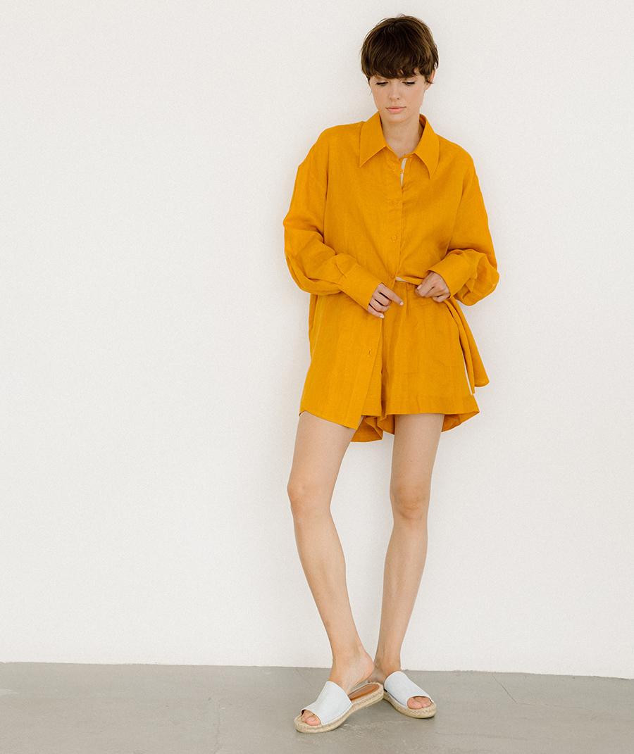 модный костюм лен льняной шорты жакет пиджак рубашка желтый оранжевый