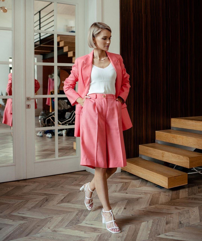 модный костюм лен льняной шорты бермуды жакет пиджак розовый