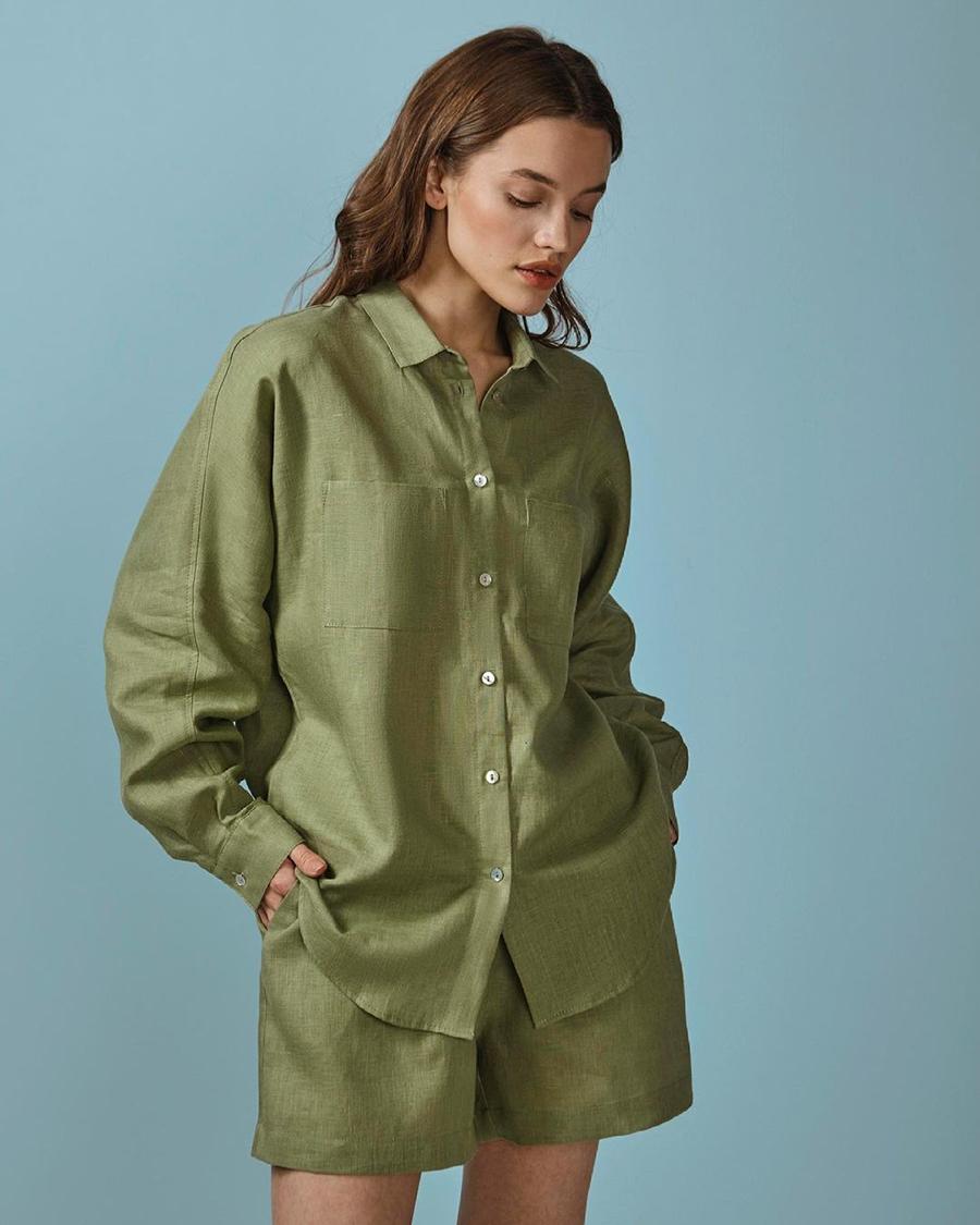 модный костюм лен льняной шорты жакет пиджак рубашка зеленый хаки оверсайз