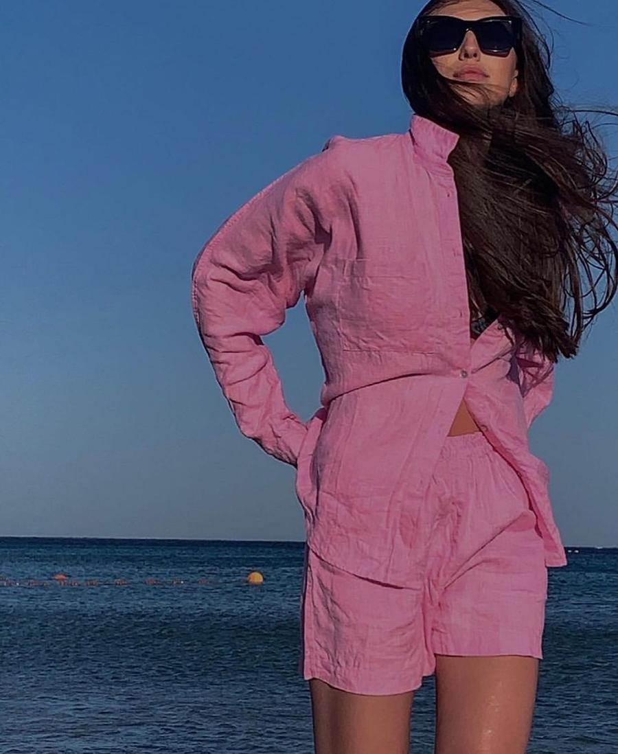 модный костюм лен льняной шорты жакет пиджак рубашка розовый