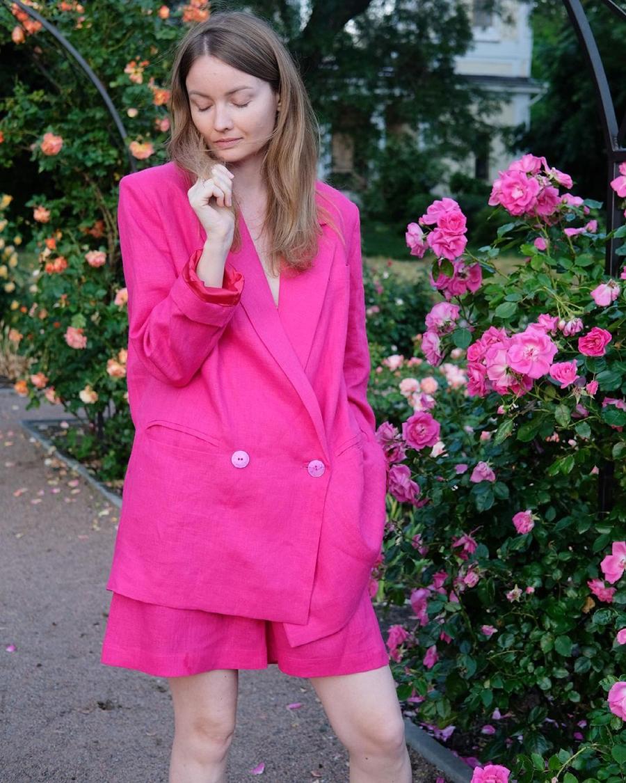модный костюм лен льняной шорты жакет пиджак рубашка розовый фуксия оверсайз