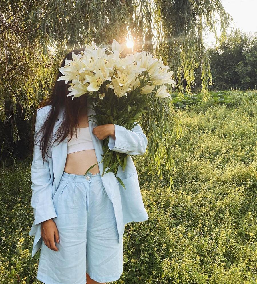 модный костюм лен льняной шорты жакет пиджак рубашка голубой