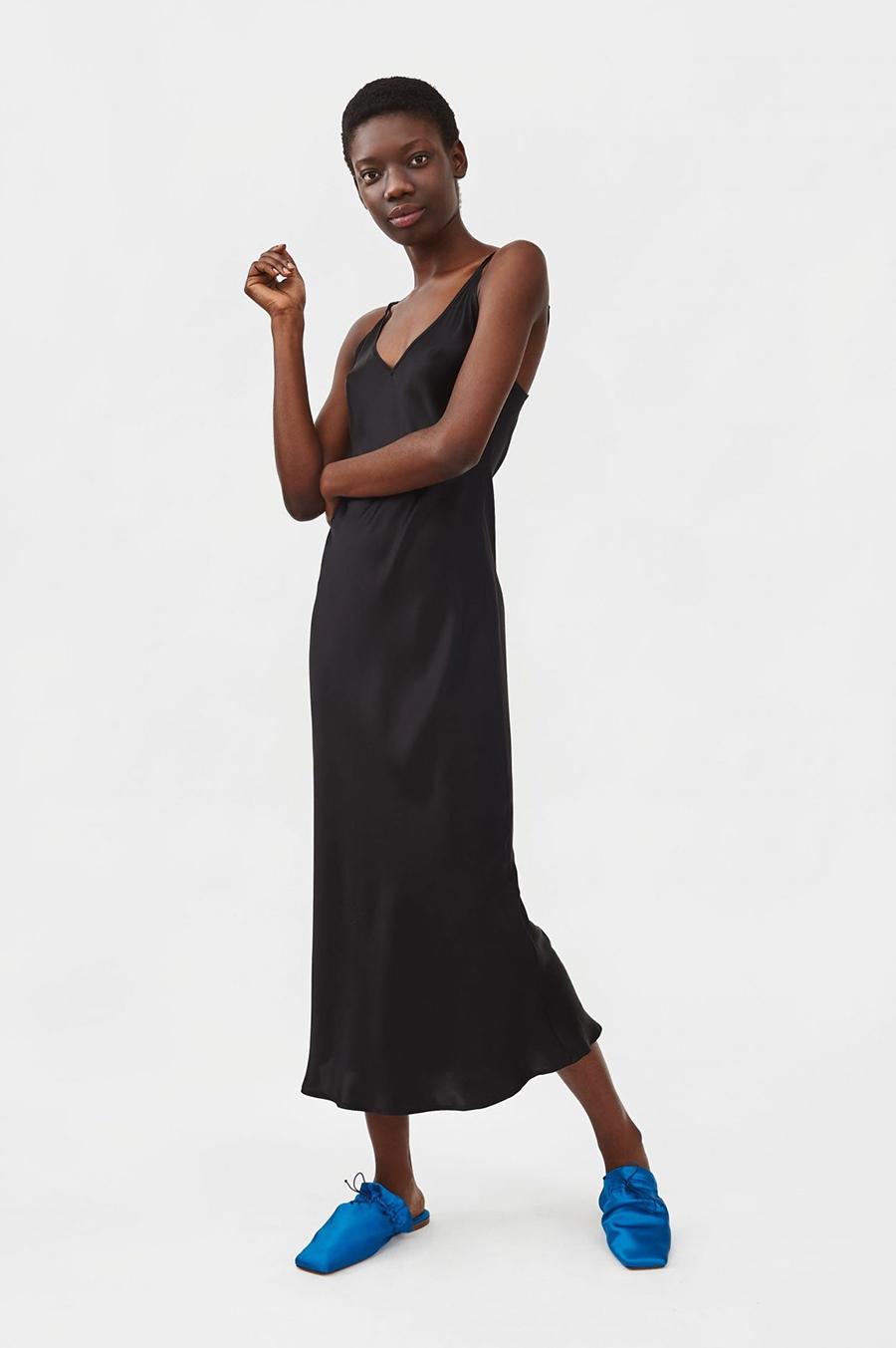 самые модные платья комбинации в бельевом стиле украинские бренды лето 2021 миди шелковое сарафан черное