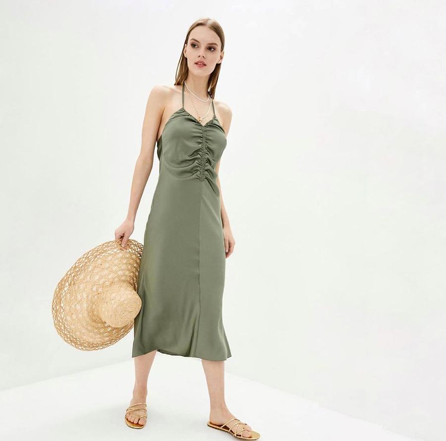 самые модные платья комбинации в бельевом стиле украинские бренды лето 2021 миди сарафан хаки зеленое